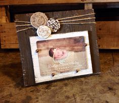 5x7 Barnwood frame with rosettes by JMacDesignFrames on Etsy