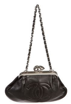 Chanel Black Lambskin Kisslock CC Clutch Handbag