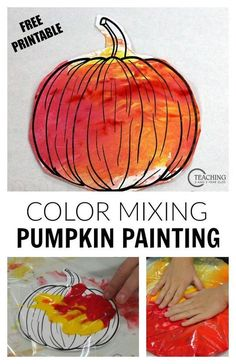 No Mess Pumpkin Art with Free Printable Looking for a last-minute fall activity for your toddlers and preschoolers? This no-mess pumpkin painting is a fun color mixing activity that you can set up in minutes! From Teaching 2 and 3 Year Olds