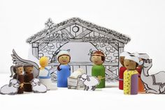 Nativity Peg Doll Set tutorial with PDF for stable and animals. Christmas Nativity Set, Christmas Love, Handmade Christmas, Christmas Holidays, Christmas Ideas, Italy Christmas, Handmade Ornaments, Christmas Goodies, Happy Holidays