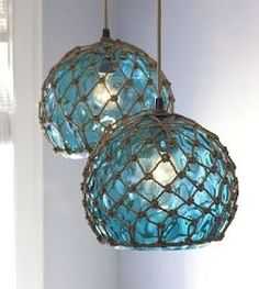 coastal glass pendant lamps - I am sure I can duplicate this look without destroying a glass buoy