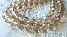 8 mm 96 Faceted Cut Earth Shape Champagne Color by CarmanTreasures