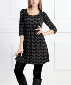 Another great find on #zulily! Charcoal Geometric Scoop Neck Dress - Women by Reborn Collection #zulilyfinds
