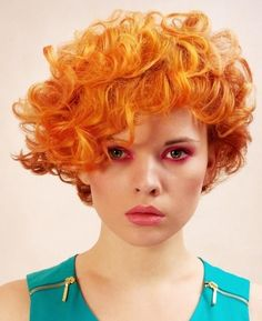 red curls, formal look, short hairstyle for party