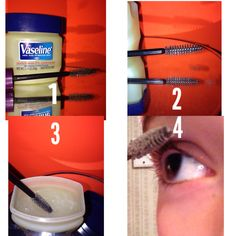 HOW TO GROW BACK YOUR EYELASHES!!  1: get Vaseline/petroleum jelly and eyelash brush. 2: get an eyelash brush from Sally's, Marshall's, or use a fully cleaned off old one.  3: get a fair amount of jelly onto the brush and use your fingers to rub it into the bristles. 4: apply like normal mascara and DONE!!:)   Repeat on a daily bases.