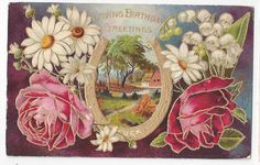 Antique Birthday Post Card Roses White Daisies Gold Foil Horseshoe    ## #Birthday