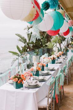 teal, aqua, and coral reception, photo by Steve Cowell Photo http://ruffledblog.com/encinitas-beach-wedding #weddingreception