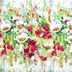 Halbpanama Flower Garden 3 - Leinen - Baumwolle - Farbmix