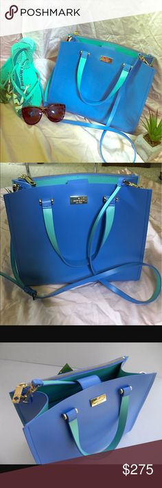 """♠️Kate Spade Arbour Hill♠️ NWT ♠️💙Kate Spade Arbour Hill Kyra Bag💙♠️ This beautiful bag is perfect for summer! With its bright vibrant blue color and Aqua accenting! It has two large slip pockets on the interior as well as a back zip enclosure! Carry it by its 5"""" drop handles or wear it as a crossbody with its 22"""" strap that is also detachable! 14k gold accents. 😍 NO TRADES kate spade Bags Satchels"""