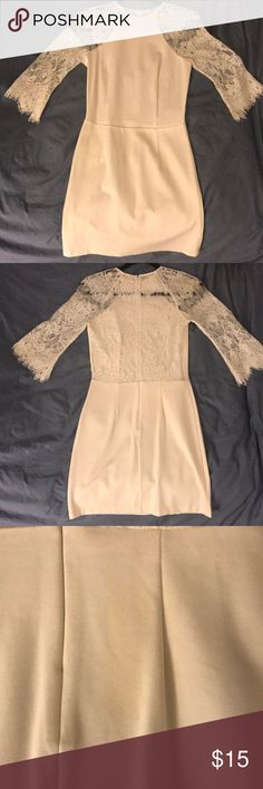 White lace dress BB Dakota Princeton Ivory Lace Dress. Sheer lace across back and arms. Bodycon fit. Worn once, has a light stain on it. BB Dakota Dresses Mini
