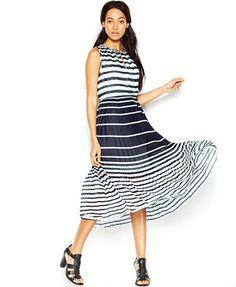 Maison Jules Sleeveless Striped Midi Dress