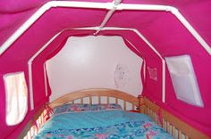 I'm sorry this is less of a how-to build a top bunk bed tent because I didn't build it, Mike did. I constructed the bottom bunk bed tent...