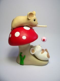Polymer Clay mouse figures