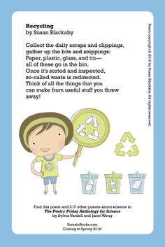 Pomelo Books | Publisher of The Poetry Friday Anthology Series: May 2014 free printable: Recycling poem by Susan Blackaby: