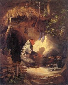 Giclee Print: Hermit, Roasting a Chicken Art Print by Carl Spitzweg by Carl Spitzweg : Romantic Paintings, Old Paintings, Original Paintings, Classic Paintings, Munich, Brother Lawrence, Carl Spitzweg, Antoine Bourdelle, Monet