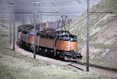Milwaukee Road frieght train in Loweth, Montana 7-7-1973