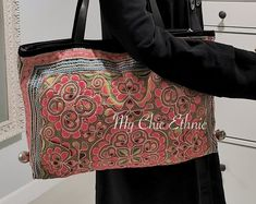Etsy :: Your place to buy and sell all things handmade Pink Dye, Ethnic Bag, Beautiful Handbags, Swirl Pattern, Vintage Fabrics, Embroidered Flowers, Vintage Leather, Hand Weaving, Embroidery Bags