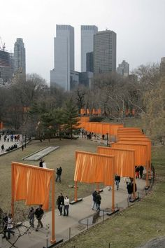 """The Gates"" (Feb 12-27, 2005), by Christo and Jeanne-Claude, in Central Park, NYC. Inspired by torii gates to Shinto shrines."