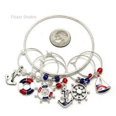 6 Nautical Wine Charms Anchor Rudder Boating Drink Markers With Holder    eBay