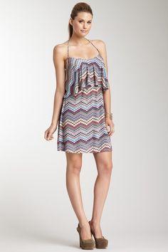Zig Zag Print Halter Ruffle Mini Dress....cute!