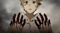 kyoukai no kanata ( beyond the boundary ) I really like the animation style in this gif. The shifting frames and when his eyes narrow, it really looks beautiful. I know the guy is covered in blood and stuff, but the art work in play is still beautifully animated.