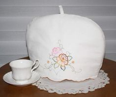 TEA COZY Upcycled Linens Embroidered Flowers by MiniMade on Etsy, $16.00