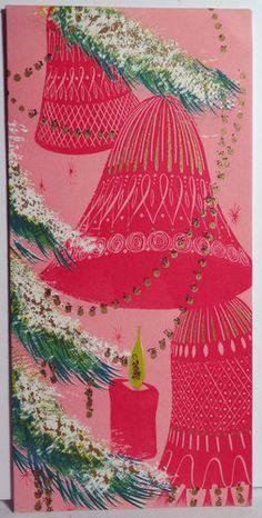 1960s Mid Century Modern Glittered Pink Bells Vintage Christmas Card