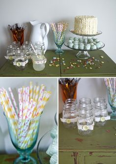 Cute as a Button Baby Shower- in love with those mason jars!