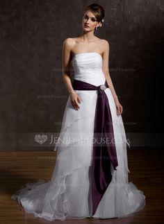 A-Line/Princess Strapless Court Train Organza Satin Wedding Dress With Ruffle Sash Crystal Brooch (002012226)