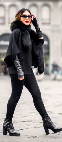 #Winter #Outfits / Shearling Coat + Black Booties