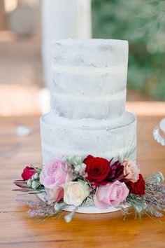 Semi-naked Cake with Flower Decoration | Clareece Smit Photography on @SouthBoundBride via @aislesociety