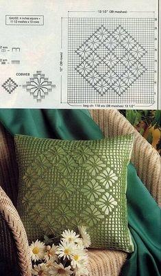 New crochet pillow case cushion covers granny squares 28 ideas Crochet Cushion Pattern, Crochet Pillow Cases, Cushion Cover Pattern, Crochet Cushion Cover, Crochet Cushions, Crochet Diagram, Crochet Stitches Patterns, Crochet Chart, Filet Crochet