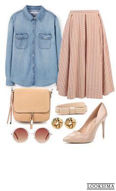 Романтичный и женственный look выглядит современно и демократично. Всё благодаря джинсовой рубашке. Любую деталь образа можно купить по ссылке:  http://looksima.ru/look/40307/