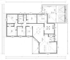 Plan maison contemporaine plain pied en l 3 chambres et for Construire une maison pour 200 000 euros