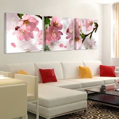 Pink Peach Flower Canvas Prints Living Room Wall Art Painting