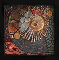 Fragile Earth, beautiful mosaic by Kathy ThadenMosiacs challenge your positioning skills Tile on top of surfaces, tiles in crevices.mosaic artists using slate Mosaic Tile Art, Pebble Mosaic, Mosaic Crafts, Mosaic Projects, Pebble Art, Mosaic Glass, Mosaic Mirrors, Fused Glass, Glass Wall Art