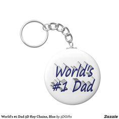 World's #1 Dad 3D Key Chains, Blue Keychain