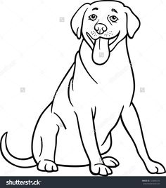 black and white cartoon illustration of funny labrador retriever