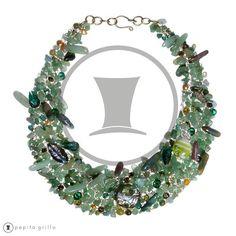Colección Patricia G. Modelo Babel. Collar 100% artesanal tejido con multitud de piedras y cristales diferentes.    www.pepitagrillo.com