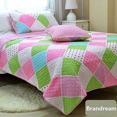 Brandream Kids Girls Pink Polka Dot Stripe Floral Quilt Set TWIN - Free Shipping #Brandream