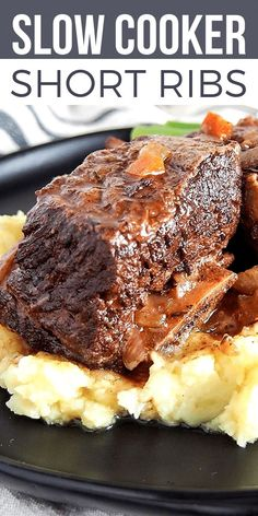 Slow Cooker Short Ribs are melt-in-your-mouth tender, flavor-packed beef in a rich red wine sauce. A super EASY DINNER RECIPE perfect for #SundaySupper! Everyone needs a GO-TO slow cooker dinner recipe and this one is it! Serve this slow cooker dinner any night of the week. It's easy and impressive enough to serve to guests too. #bestangusbeef #roastperfect #slowcooker #slowcookerdinner #slowcookerbeef #easydinner #easydinnerrecipes