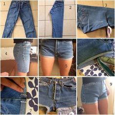 high waisted shorts tutorial from unpeutdetoutpol-e. high waisted shorts tutorial from unpeutdetoutpol-e. Diy Clothes Videos, Clothes Crafts, Sewing Clothes, Diy Clothes Hacks, Diy Tumblr, Diy Shorts, Pants To Shorts, Sewing Shorts, Diy Summer Clothes