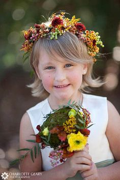 Flower girl at a fall wedding...I want the flower crown!