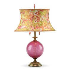 A fun colorful lamp with a playful shade adorned with a bubbly glass sphere. Brings character to any home. Sonya (rose) by Susan Kinzig and Caryn Kinzig: Mixed-Media Table Lamp available at www.artfulhome.com