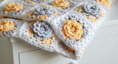 Yellow crochet flower granny square blanket #crochet #wool#blanket