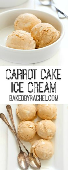 Creamy homemade carrot cake ice cream with cream cheese frosting swirls recipe from @bakedbyrachel