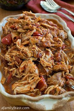 One of the most popular recipes on our site - this Mexican Pulled Chicken is delicious and versatile! Great in sandwiches, enchiladas, tacos, and more!