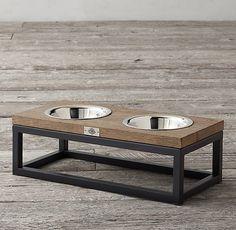 Oak & Iron Pet Bowl Set - Medium