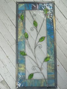 Happy Curly Leafy Stained Glass Panel by RenaissanceGlass on Etsy, $375.00