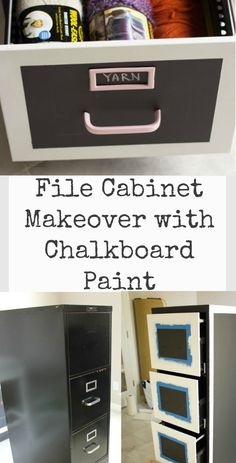 Transform an old file cabinet into chic craft supply storage with built-in calendar thanks to chalkboard paint! The entire file cabinet was covered in a few c… Upcycled Furniture, Home Decor Furniture, Furniture Projects, Furniture Makeover, Diy Projects, Painted File Cabinets, Filing Cabinets, Painting Metal Cabinets, Cabinet Makeover